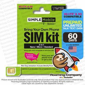 🚀 USA 60DAY $30 UNLIMITED DATA TALK TEXT Prepaid Travel SIM card Hotspot 4G 5G