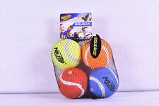 PACK OF 4 Nerf Dog Squeaky Tennis Balls, Assorted Colors