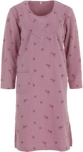 Lucky Ladies Nightgown Thermal Textured with Bag Winter Buttons Size M L XL XXL