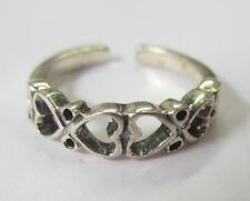 2pcs Sterling Silver Adjustable Toe Ring 6 Heart Design Solid 925 Oxidized
