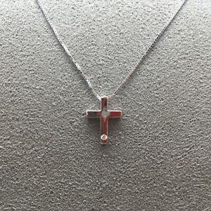 GIROCOLLO ARMONIE, ciondolo a forma di croce, diamante e oro bianco 18 Kt (750)