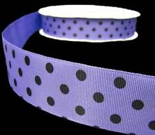 "5 Yards Iris Purple Black Candy Polkadots Polka Dots Grosgrain Ribbon 1 1/2""W"
