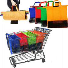 *Set of 4 Reusable Shopping Bags Eco Foldable Trolley Tote Grocery Cart Storage