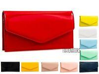 Women's Patent Plain Leather Envelope Design Shiny Shoulder Chain Clutch Bag