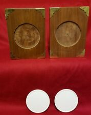 Set of Walnut Bookends with 2 porcelain Discs for China Painting. Handmade
