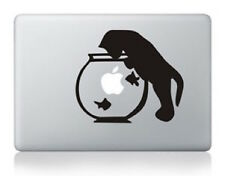 "Sticker Macbook Pro Air 13"" Chat Bocal Poissons, Decal Skin Cat, Katze Aufkleber"