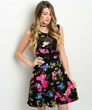 Black Magenta or White Red Flower Cocktail Party Dress, Made in USA - S, M, L