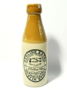 Pictorial SHAKING HANDS Collins Newcastle Genuine Extra Dublin Stout Bottle #GB6