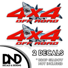 4x4 Off Road Decals 2 Pk Sticker for Ford Chevy Sierra truck - Red Sharks D&