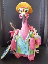 "Pink Flamingo Sunglasses Yellow Hat with Ice Box 8""H"