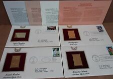 4 Stamps 22K Gold Replicas 1st Day Issue 1988 Olympics & American Sports Series