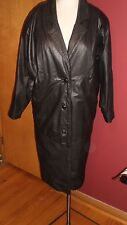 Vintage WILSONS Long Black Thinsulate LEATHER Trench Coat Jacket Womens Size PS