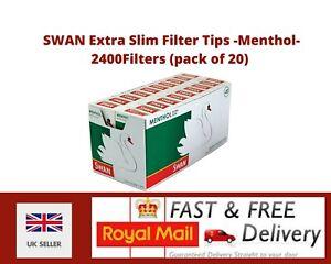 SWAN Extra Slim Filter Tips - Menthol- 120 Filters/Pack - 20Packs(2400 Filters)