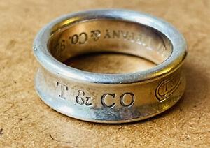Genuine Tiffany&Co silver ring UK size N-London hallmarks
