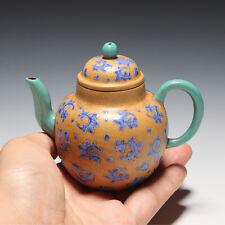 OldZiSha-Exquisite China Yixing ZiSha Old Enamel Painted Small 150cc Teapot