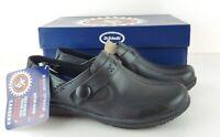 Dr Scholls Careers Leather Shoes Clogs Paula Sz 6 WW Gel Cushion New Read Disc