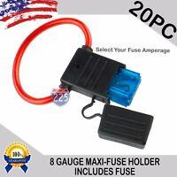 20 Pack 8 Gauge APX MAXI Inline Blade Fuse Holder w/ Waterproof Cap + 30A -120A