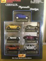 Maisto 1/64 Chrysler/Plymouth/Dodge 7 Car Set NIB Manufacturer Series