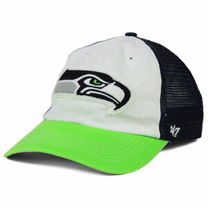 Seattle Seahawks NFL 47 NFL Privateer Closer Cap Hat Stretch-Fit Mesh Lime HAWKS