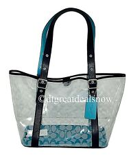 NEW Coach Signature Ferry Tote Clear / Midnight with Leather Details 2564
