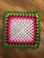 "HandMade Crochet COMFORTER Baby Blanket Security Blankie ROSE GARDEN 30cm/11.75"""