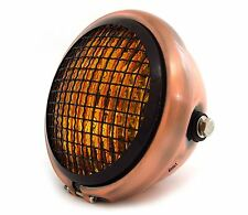 "5.75"" Halogen Motorcycle Headlight w/ Grill - Bronze - Gloss Black - Amber"