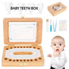 Wooden Baby Tooth Storage Box Children Kids Teeth Holder Keepsake Organizer Gift