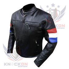 MOTORCYCLE JACKET MEN. 4600 Netherland FLAG Thick Cowhide Biker Armoured Coat