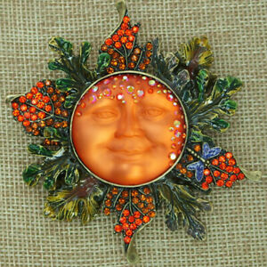 Kirks Folly Autumn Goddess Seaview Moon Pin Pendant Brasstone Orange & Green