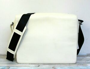 PORSCHE DESIGN P2000 WHITE GENUINE LEATHER FLAP MESSENGER MEN'S SHOULDER BAG