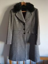 Ladies Louis Feraud White & Black Houndstooth Tailored Wool Blend Coat UK 14 VGC