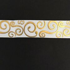 "White with Gold Foil Swirl pattern 7/8"" Printed Grosgrain Ribbon 1m"