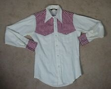 Vintage PEARL SNAP western shirt 60s 70s SMALL Red Check Cowboy Sears
