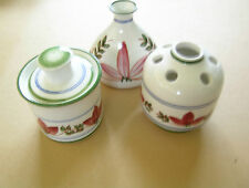 HAND Crafted Iden segale centro tavola Ceramica Pentole & SUGAR BOWL Floreale Vine Design
