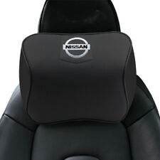 Black Real Leather Car Seat Memory Foam Neck Rest Cushion Pillow Fit For Nissan