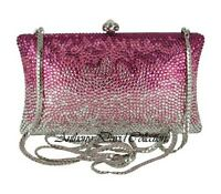 Anthony David Pink Crystal Silver Clutch Evening Bag with Swarovski Crystals