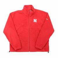 """Columbia Men XL 53"""" Nebraska Huskers Full Zip Fleece Jacket Red Polyester"""