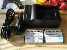 2X Battery+charger for Samsung SLB-11A EX1 HZ25W HZ30W HZ35W HZ50W ST1000 ST5000