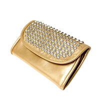 Raviani Full Crystal Wallet Gold Color Cowhide Leather MADE IN USA