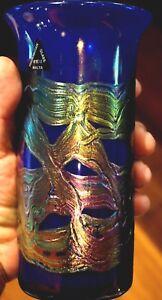 A Beautiful Vintage Phoenician Iridescent Cobalt Art Glass Vase - Malta