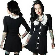 Kreepsville Thursday Poison Flare black dress with white skull and web print