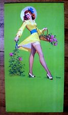 1940s Pin Up Girl Picture by Frahm Red Head Long Legs in Garden Pair of Sheers M