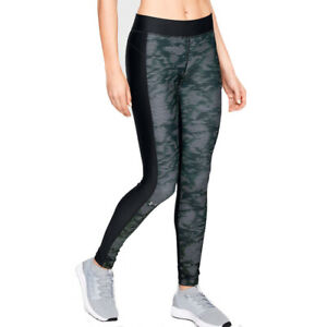 Under Armour UA HeatGear Black Ladies Printed Compression Running Leggings M