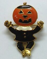 Halloween Jack-o-Lantern Pumpkin with Moving Legs Brooch Pin, Gold Plated, NEW