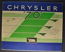 1930 Chrysler 70 Color Sales Brochure Folder Nice Original 30