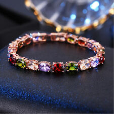 New Oval Multi Amethyst Peridot Garnet Gems Rose Gold Silver Charming Bracelets