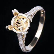 Diamonds Semi Mount Engagement Women's Ring 8~9mm Round Solid 10K Yellow Gold