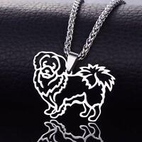 Stainless Steel Pekingese Chinese Spaniel Peking Dog Pelchie Pendant + Necklace