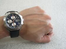 Roberto Cavalli By Franck Muller Men's Swiss Chronograph Blue Calfskin Leather