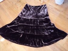 Laura Ashley Brown Velvet Silk Skirt Sz 10 Small ( 8 Too )